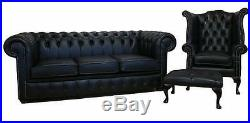 Chesterfield 3 Seater + Wing Chair + Footstool Black Leather Sofa Settee Suite