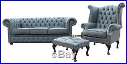 Chesterfield 3 Seater+Wing Chair+Footstool Moon Mist Grey Leather Sofa Suite