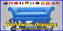 Chesterfield 3 Seater +Wing + Wing Chair Black Leather Sofa Settee Suite