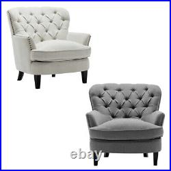 Chesterfield Accent Buttoned Occasional Armchair Wing Back Queen Anne Sofa Chair