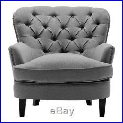 Chesterfield Accent Sofa Armchair Wing Back Upholstered Queen Anne Arm Chair