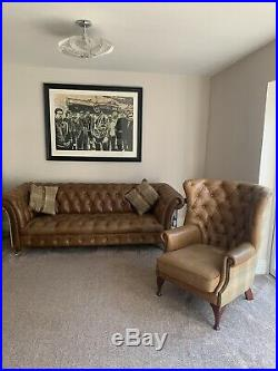 Chesterfield Bretby Light Brown Leather 3 Seater Sofa And Wing Chair