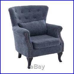 Chesterfield Chenille Button Queen Anne Wing Back Armchair Fireside Sofa Chair