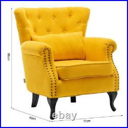Chesterfield Chenille Fabric Wing Back Armchair Sofa Lounge Button Accent Chair
