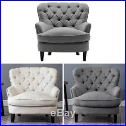 Chesterfield Deep Button Pouffe Chair Wing Back Armchair Occasional Accent Sofa