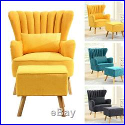 Chesterfield Fabric Button Fireside Armchair Wing Back Accent Sofa Chair withStool