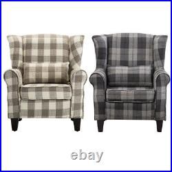 Chesterfield Fabric Tartan Wing Chair High Back Armchair Single Sofa with Pillow