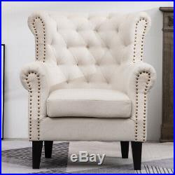 Chesterfield Fireside Armchair Tufted Wing Back Chair Sofa Orthopeadic Fabric UK