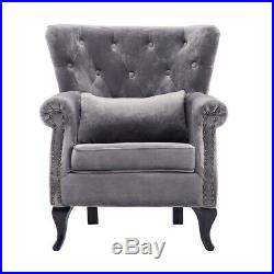 Chesterfield Flocking Fabric Armchair Wing Back Button Chair Single Tufted Sofa