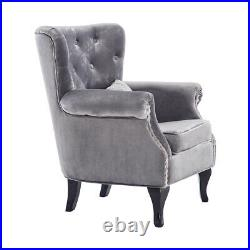 Chesterfield High Back Armchair Wing Fabric Queen Anne Style Chair Fireside Sofa