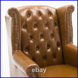 Chesterfield High Back Wing Chair Faux Leather Armchair Sofa Queen Anne Vintage
