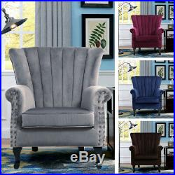 Chesterfield Leather Armchair Fabric Velvet Wing Back Queen Fireside Sofa Chair