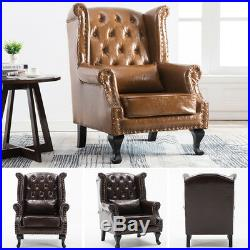 Chesterfield Leather or Fabric Armchair Studded Wrap Fireside Sofa Winged Chair