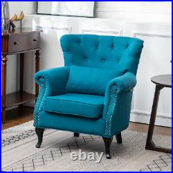 Chesterfield Linen Fabric Accent Armchair Sofa Lounge Bedroom Wing Back Chair UK