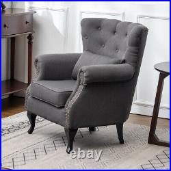 Chesterfield Linen Fabric Armchair Button Chair Wing Back Queen Anne Lounge Sofa