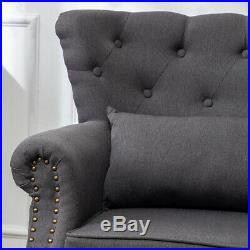 Chesterfield Linen Fabric Armchair Buttoned Wing Back Chair Queen Anne Sofa Seat