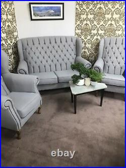 Chesterfield New Queen Anne set high back wing sofa and chair(free delivery)