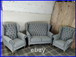 Chesterfield New Queen Anne set high back wing sofa and chair(free delivery)RARE