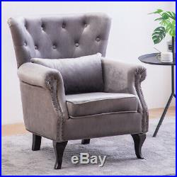 Chesterfield Occasional Velvet Wing Back Fireside Armchair Sofa Lounge Chair