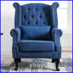 Chesterfield Queen Anne Seat Sofa Chair Studded High Wing Back Fireside Armchair