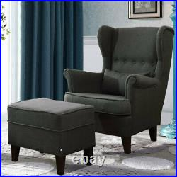 Chesterfield Single Sofa Wing Back Armchair Occasional Accent Chair with Footstool