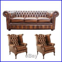 Chesterfield Sofa/Suite 3 Seater +Queen Anne +Queen Anne Wing Back Chair Antique