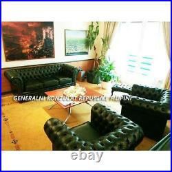 Chesterfield Suite Original UK 3-seater sofa, wing chair, club chair, footstool