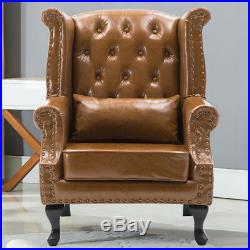 Chesterfield Tan Leather Armchair Sofa Wing Back Queen Fireside Occasional Chair