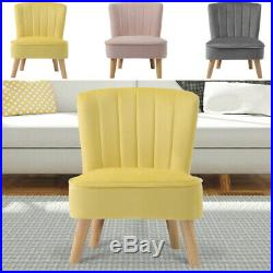Chesterfield Velvet Fabric Armchair Button Wing Back Chair Queen Anne Sofa Seat