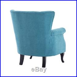 Chesterfield Velvet Fabric Chenille Wing Back Armchair Tub Sofa Lounge Chair UK
