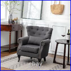 Chesterfield Velvet Sofa Wing Back Tub Chair Armchair Lounge Queen Anne Seat