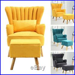 Chesterfield Wing Back Armchair Button Fabric Velvet Shell Chair Sofa Tiger Seat
