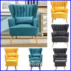 Chesterfield Wing Back Armchair Ridged Scallop Shell Tub Chair Single Seat Sofa