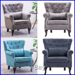 Chesterfield Wing Back Chair Armchair Fireside Sofa Button Tufted/Scallop Back