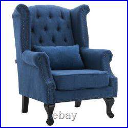 Chesterfield Wing Back Chair Button Studded High Back Queen Anne Sofa Armchair