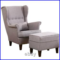 Chesterfield Wing Back Chair High Back Fireside Queen Anne Sofa Armchair withStool