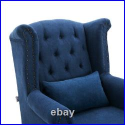 Chesterfield Wing Back Chair Retro Buttoned Studded Queen Anne Sofa Tub Armchair