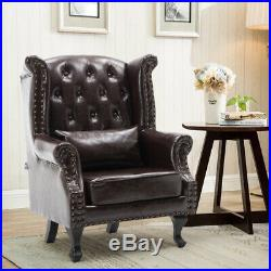 Chesterfield Wing Back Queen Anne Fireside Armchair Sofa Chair Seat Leather Stud