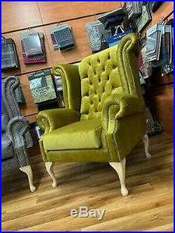 Chesterfield Wing Back Queen Anne High Back Armchair Sofa Chair
