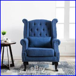 Chesterfield Wing Back Queen Anne High Back Fireside Armchair Sofa Chair Fabric