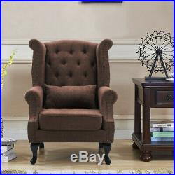 Chesterfield Wing Back Queen Anne Lounge Chair Fireside Armchair Sofa Soft Seat