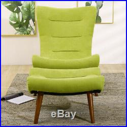 Chesterfield Wing Back Recliner Armchair Lazy Sofa Egg Seat Tub Chair&Footstool