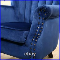 Chesterfield Wing Back Sofa Armchair Velvet Tub Scallop Occasional Bedroom Chair