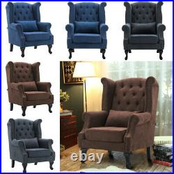 Chesterfield Wing Back Studded Armchair Fireside Lounge Queen Anne Sofa Chair