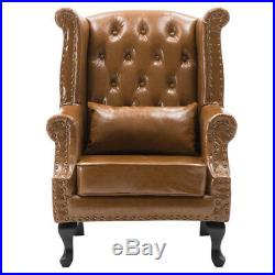 Chesterfield Wing Back Upholstered Queen Anne Armchair Sofa Chair Leather/Fabric