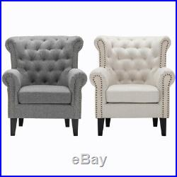 Chesterfield Wing Chair High Back Tufted Rivet Fireside Sofa Armchair Chenille
