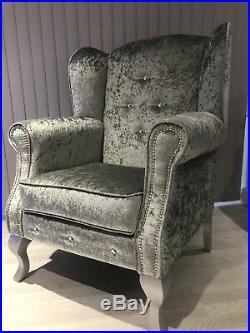 Chesterfield Wing Chair Silver Crushed Velvet Diamonds Sofa