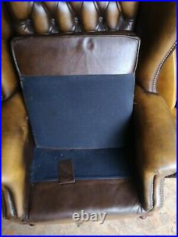 Chesterfield leather wing back arm chair Queen Anne style