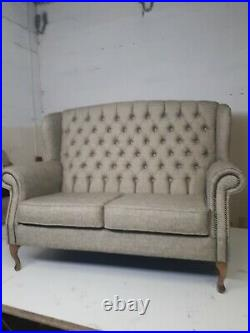 Chesterfield new Queen Anne set high back wing sofa, chair(free delivery)