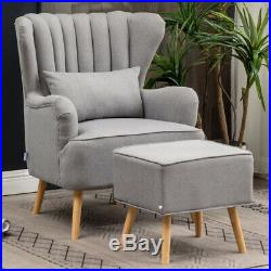 Cocktail Wing Back Chair Sofa Armchair Tufted Ridged Scallop Back with Footstool